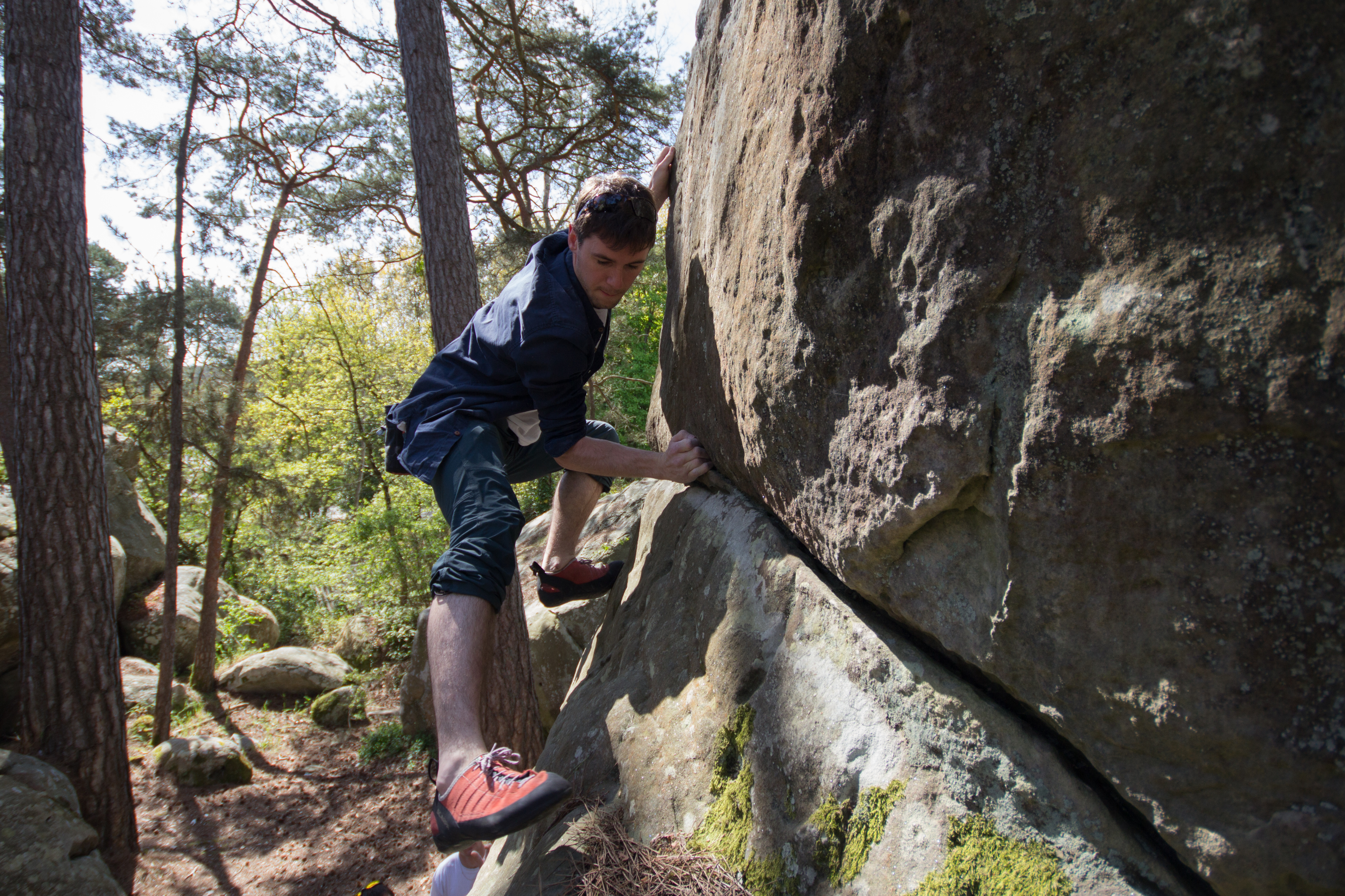 Finn bouldering at Buthiers.