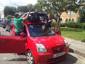 A small car with 4 people's worth of kiting gear means it's pretty heavily loaded!